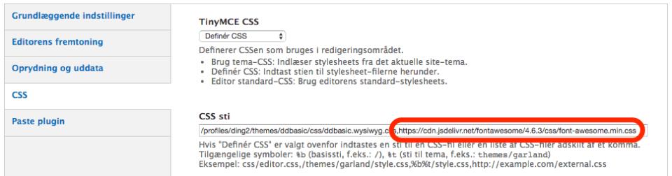 Her indsættes URL'en til ikonerne i wysiwyg profilen