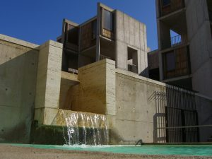 View of a water feature at the Salk Institute