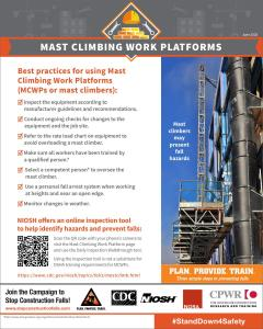 OSHA best practices for using mast climbing platforms infographic