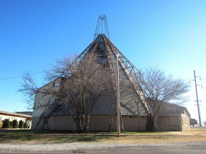 Hopewell Baptist Church in Edmond, Oklahoma designed to look like a teepee and built by the congregation using old oil field pipes