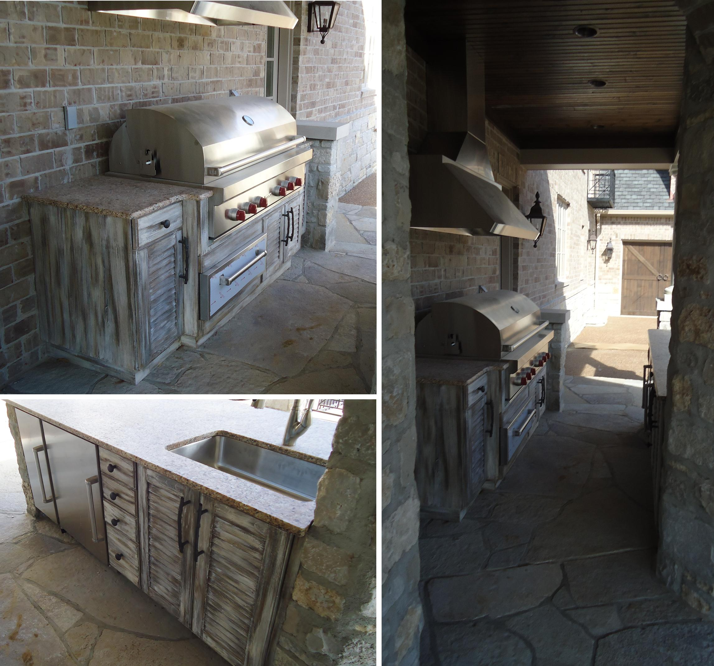 rustic outdoor kitchen small sink cabinetry beck allen