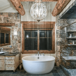 Kitchen Bar Stonewall Com Nature-inspired Master Bathroom With Freestanding Bathtub ...
