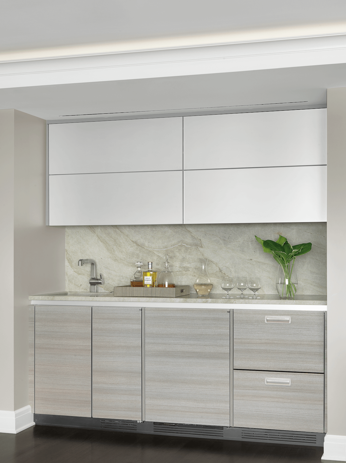 Modern Wet Bar  Open to Living Room  BeckAllen Cabinetry