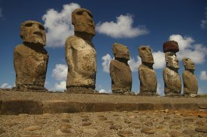 Most of the Moai stood on platforms and faced inland.
