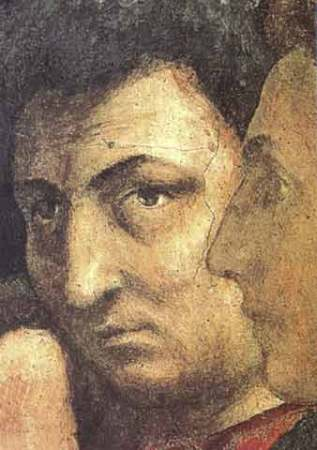 Self-Portrait of Masaccio from St. Peter Raising the Son of Theophilus and St. Peter Enthroned as First Bishop of Antioch, one of the Brancacci Chapel Frescoes (1425-1427).