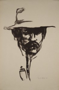 Head with Pipe, self-portrait of Emil Nolde (1907).