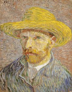Self-Portrait with Straw Hat, by Vincent Van Gogh (1887-1888).