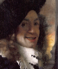 Possible self-portrait of Jan Vermeer, from The Procuress (1656).