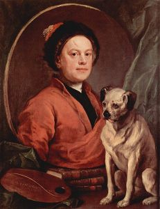 The Painter and His Pug, self-portrait by William Hogarth (1745).