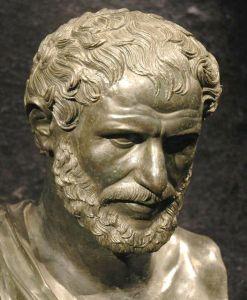A bust of Heraclitus found at the Ancient Roman Villa dei papiri in Herculaneum.
