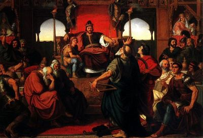 The Feast of Attila, an 1870 painting by Mór Than. Now in the Hungarian National Gallery.