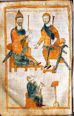 A depiction of Charlemagne and hhis illegitimate son, Pippin the Hunchback. This is a 10th Century copy of an early 9th Century original.