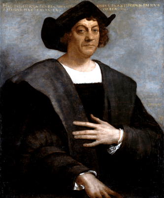 Posthumous portrait of Christopher Columbus by Sebastiano del Piombo in 1519, now located in the Metropolitan Museum of Art, New York.