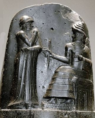 Bas relief of Hammurabi receiving the law code from the god Shamash (c. 1750 BCE).