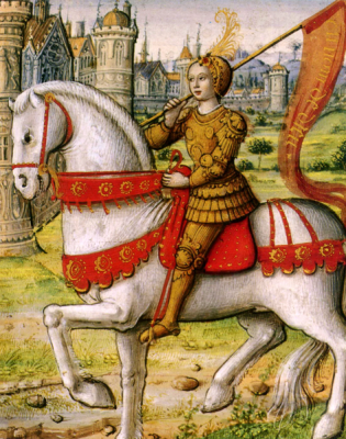 A portrait of Joan of Arc taken from a 1505 illustrated manuscript.