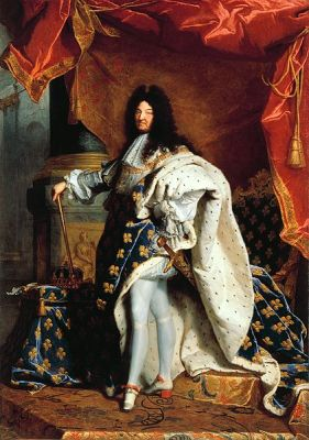 Hyacinthe Rigaud's 1701 portrait of Louis XIV, which is now located in the Louvre, Paris.