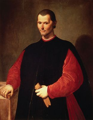 Posthumous portrait of Niccolò Machiavelli by Santi di Tito from 1550-1603. It can be found in the Palazzo Vecchio in Florence, Italy.
