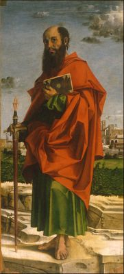 A portrait of Paul the Apostle by Bartolomeo Montagna, from 1482. It is now in the Museo Poldi Pezzoli in Milan.
