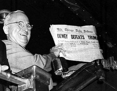 Harry S. Truman after winning election in November 1948. Associated Press photo by Rollins.