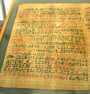 This Egyptian papyrus from 1500 BCE describes the use of soap for washing.
