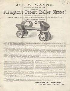 An 1879 newspaper ad for Plimpton skates.