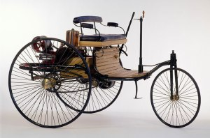 Karl Benz's original 1885 automobile. The design was patented in 1886 and put into production in 1888.