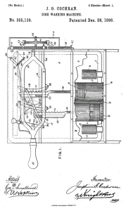 Josephine Cochrane's 1886 patent application for her dishwasher.