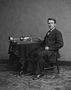 Thomas Edison with his phonograph in 1878. Photograph by Matthew Brady.