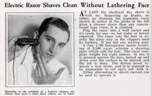 A 1932 advertisement for an electric razor.