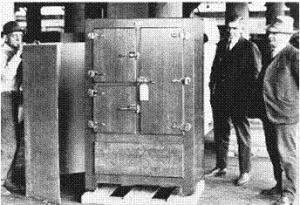 This photo is said to show a Jacob Perkins refrigerator built in the early 19th Century.