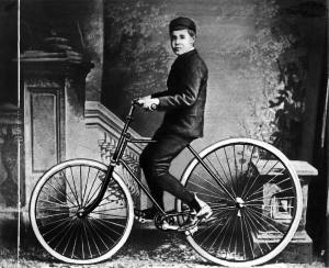 John Dunlop, Jr. in 1888 on the bicycle with pneumatic tires created by his father.