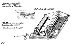 An 1836 patent application for Hiram Moore's combine harvester.