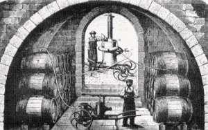 An illustration from Louis Pasteur's 1866 book Études sur le vin, showing Pasteurization of wine.