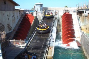 Archimedes' screws operating at Sea World in San Diego, California.