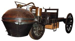 Cugnot's 1771 'fadier a vapeur' is now in a Paris museum.