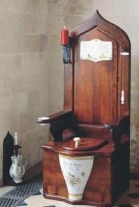 An antique toilet.