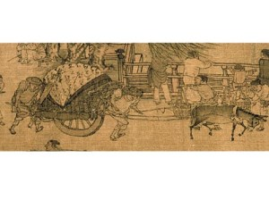 This Chinese tomb mural depicts wheelbarrow use between 100 and 200 CE.