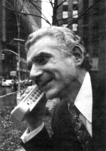 Martin Cooper places a call in 1973 using the mobile phone he and John Mitchell developed at Motorola.