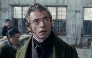 Hugh Jackman plays Jean Valjean in Les Miserables (2012).