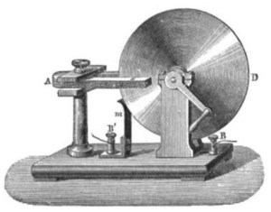 The Faraday disk was the first electric generator. The horseshoe-shaped magnet (A) created a magnetic field through the disk (D). When the disk was turned, this induced an electric current radially outward from the center toward the rim. The current flowed out through the sliding spring contact m, through the external circuit, and back into the center of the disk through the axle.