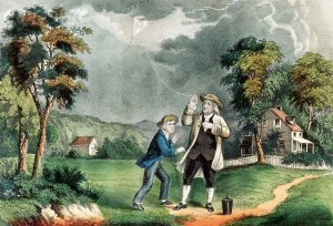 An 1876 rendering of Benjamin Franklin's kite-flying experiment by Currier & Ives. © Museum of the City of New York/Corbis.