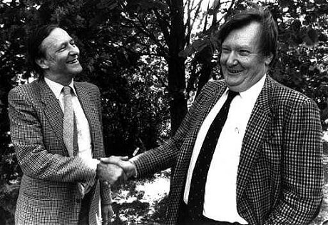 Carlo Rubbia (1934- ) (right) and Simon van der Meer (1925-2011), who jointly won the Nobel Prize in Physics in 1984 for discovering the W and Z bosons.