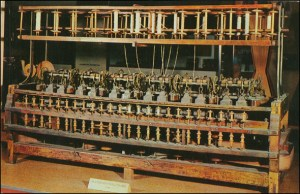 A 1790 spinning frame made by Slater, now in the Smithsonian Institution.