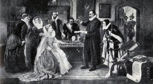 William Gllbert Demonstrates His Experiment on Electricity to Queen Elizabeth I and Her Court, a 19th Century painting by Arthur Ackland Hunt [~late 1800s]