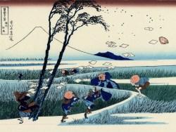 travellers-caught-in-a-sudden-breeze-at-ejiri-ca-1832-a-woodprint-by-katsushika-hokusai