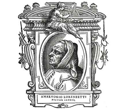 A portrait of Ambrogio Lorenzetti from the 1568 edition of Vasari's Lives of the Most Excellent Painters, etc.