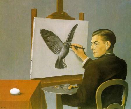 René Magritte's 1936 painting Clairvoyance (Self-Portrait).