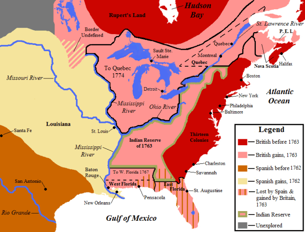 A map of North America at the time of the Seven Years' War (French & Indian War).