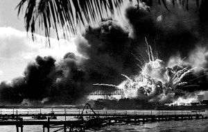 The USS Shaw explodes after being struck during the Japanese attack on Pearl Harbor December 7, 1941.