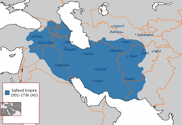 A map of the Safavid Empire.
